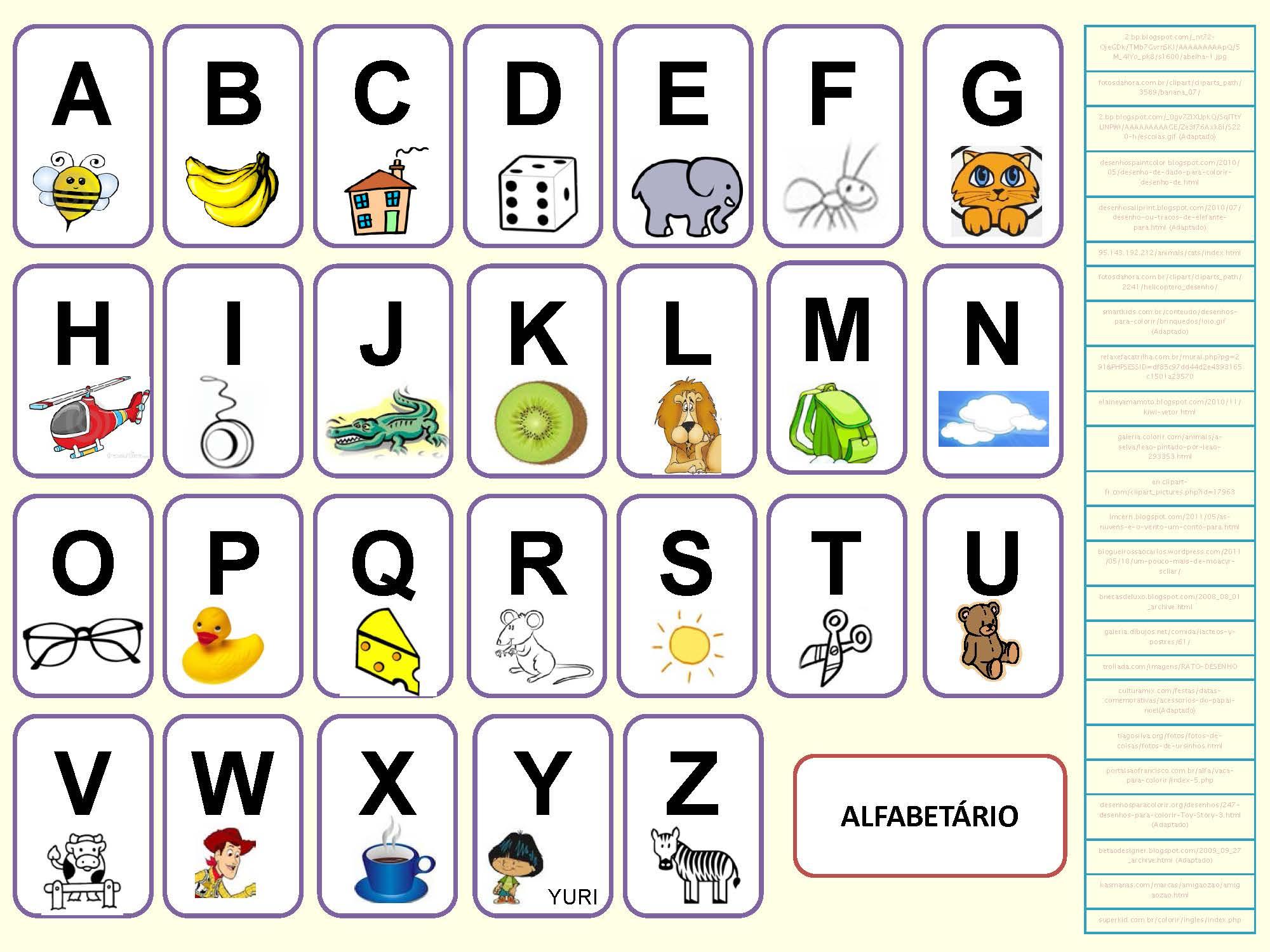 Alphabet portugais en images à imprimer