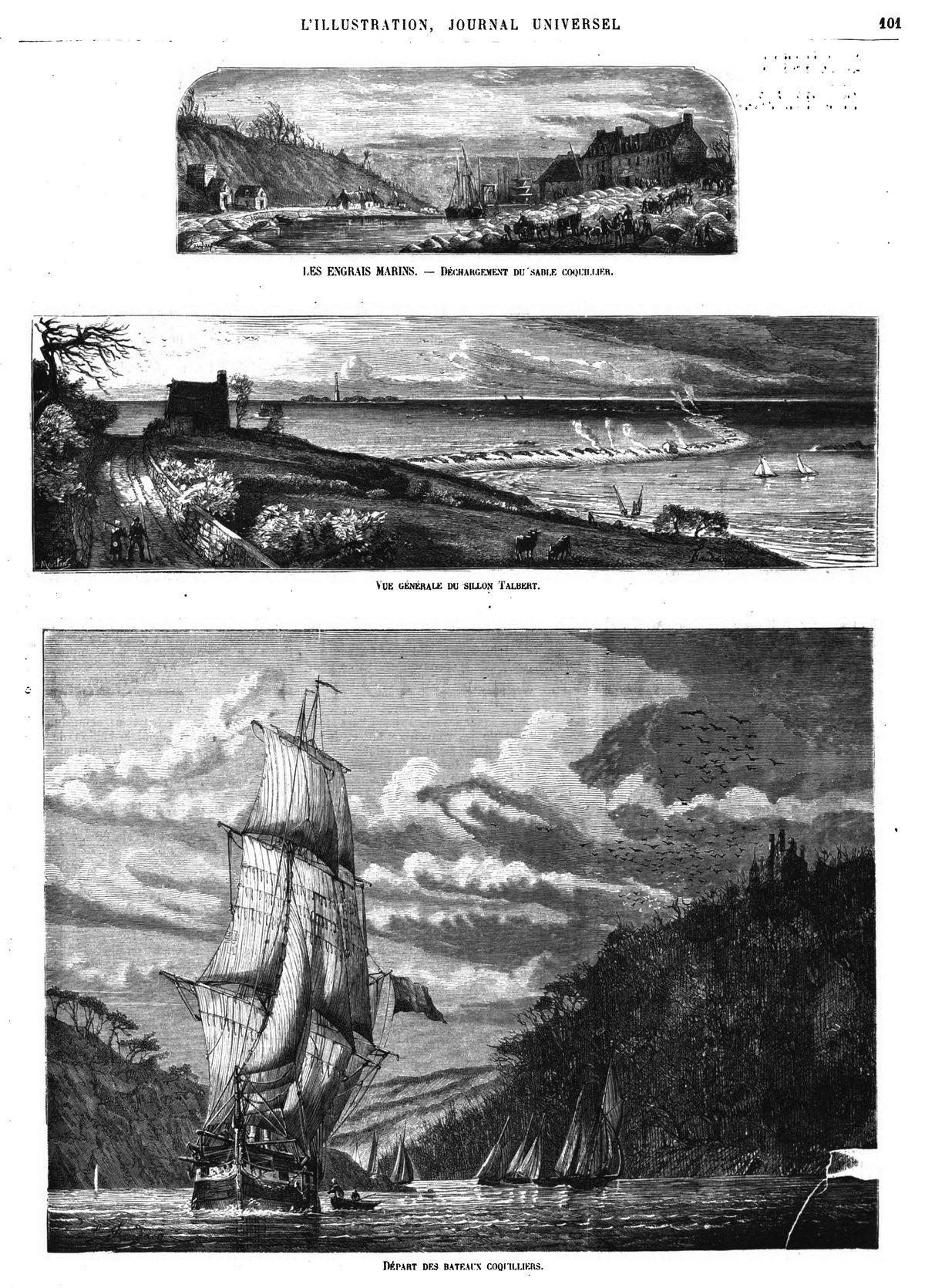 Déchargement du sable coquillier; — Vue générale du sillon Talbert; — Départ des bateaux coquilliers.