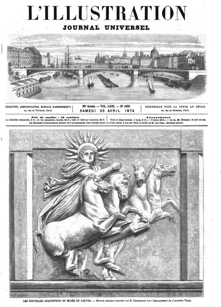 Les nouvelles acquisitions du Musée du Louvre : Métope grecque trouvée par M. Schliemann sur remplacement de l'ancienne Troie. (gravure 1874)