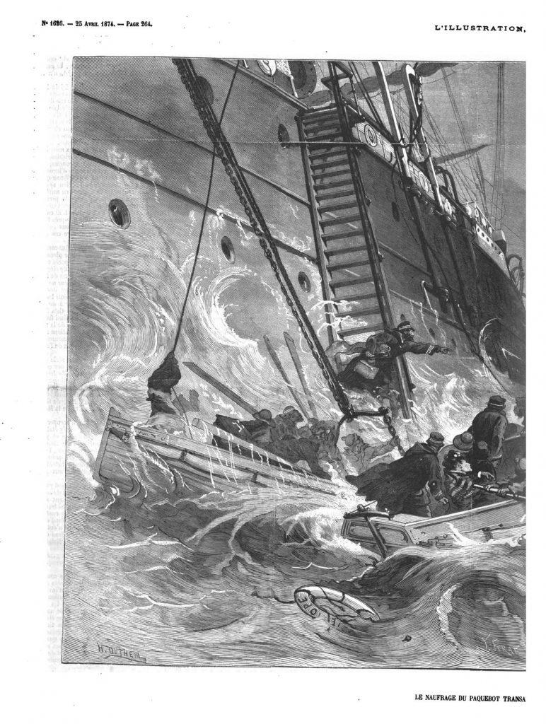 Le naufrage du paquebot transatlantique l'Europe: le dernier canot; (gravure 1874)