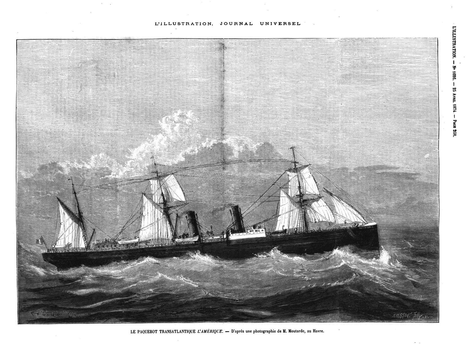 Le paquebot transatlantique l'Amérique (gravure 1874)