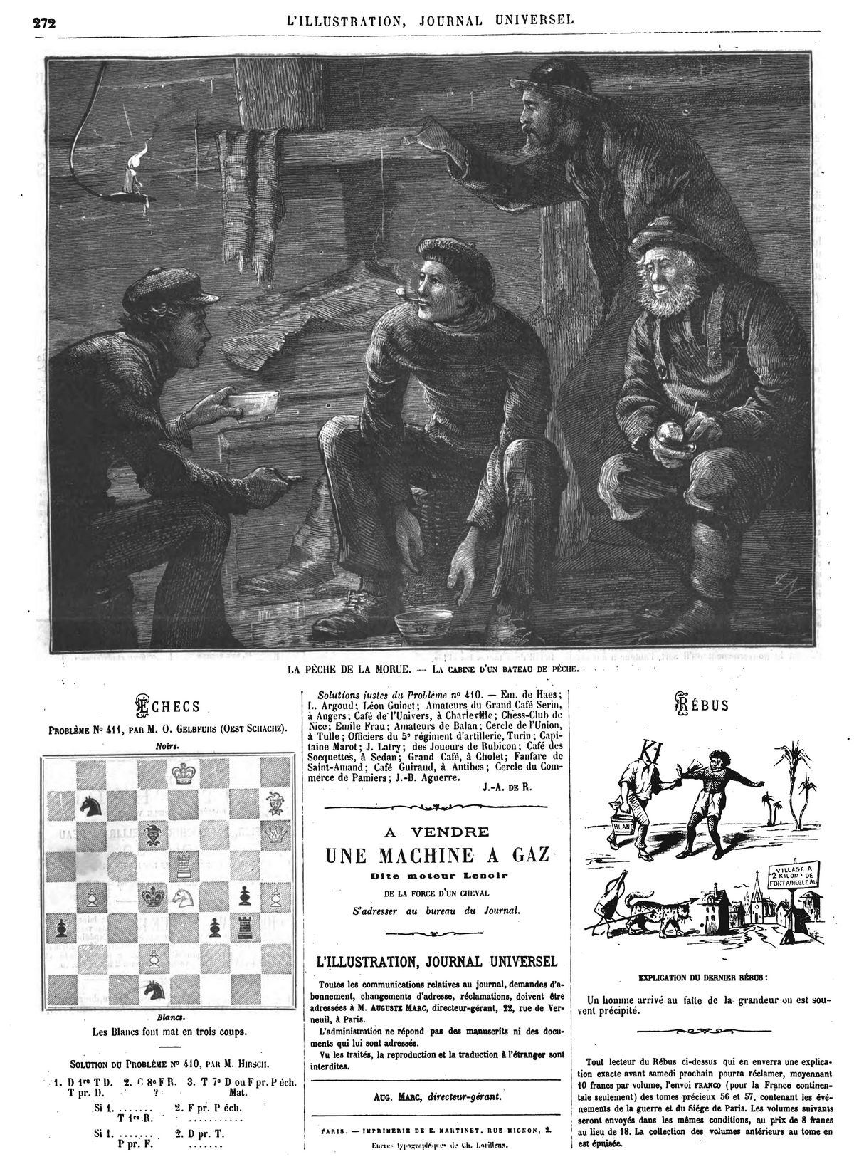 La pêche de la morue : la cabine d'un bateau de pêche. (gravure 1874)