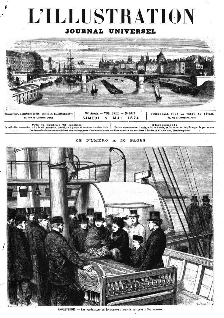 Angleterre : les funérailles de Livingstone; arrivée du corps à Southampton ; (gravure 1874)