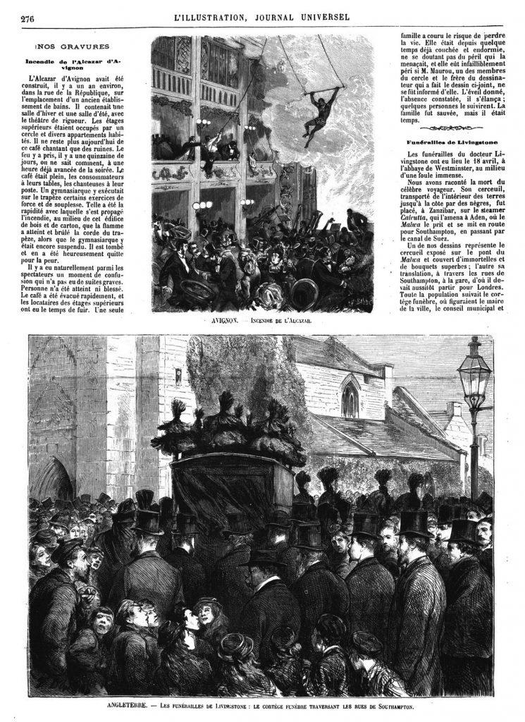 Le cortège funèbre traversant les rues de Southampton. (gravure 1874)