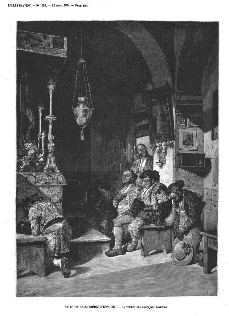 Types et physionomies d'Espagne : la veillée des armes des Torreros. (gravure 1874)