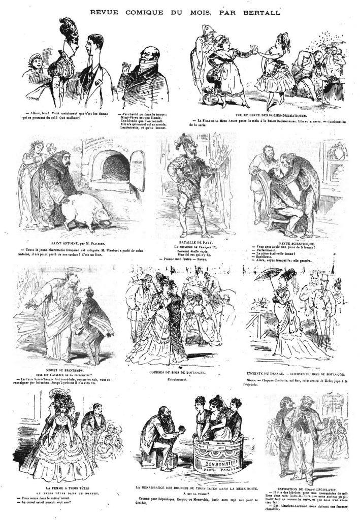 Revue comique du mois, par Bertall ( 11 sujets). (gravure 1874)