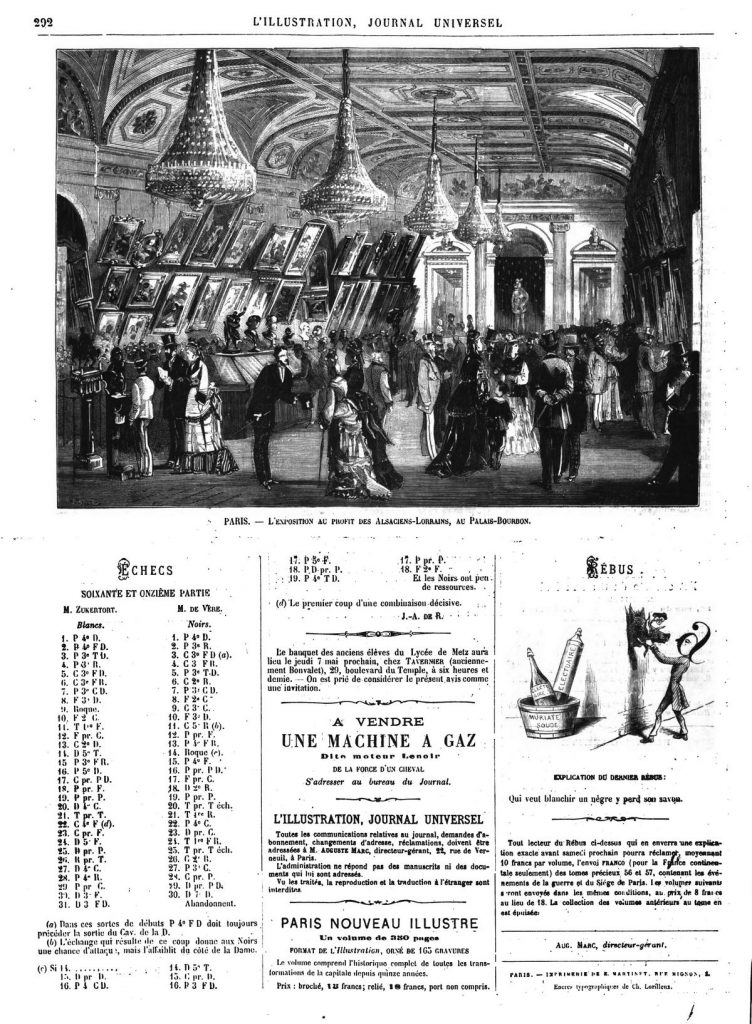 L'exposition au profit des Alsaciens-Lorrains, au Palais-Bourbon. (gravure 1874)
