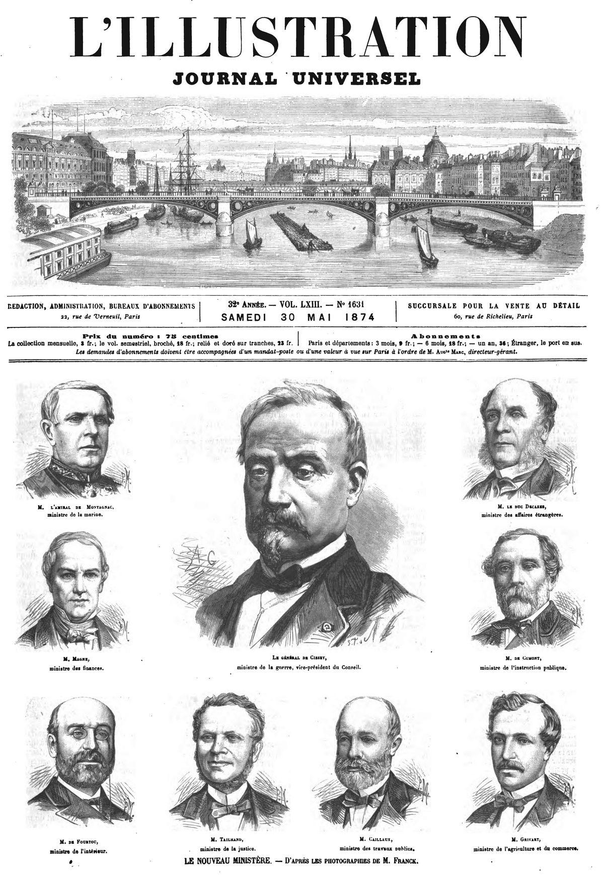 Le nouveau ministère (9 gravures). (gravure 1874)
