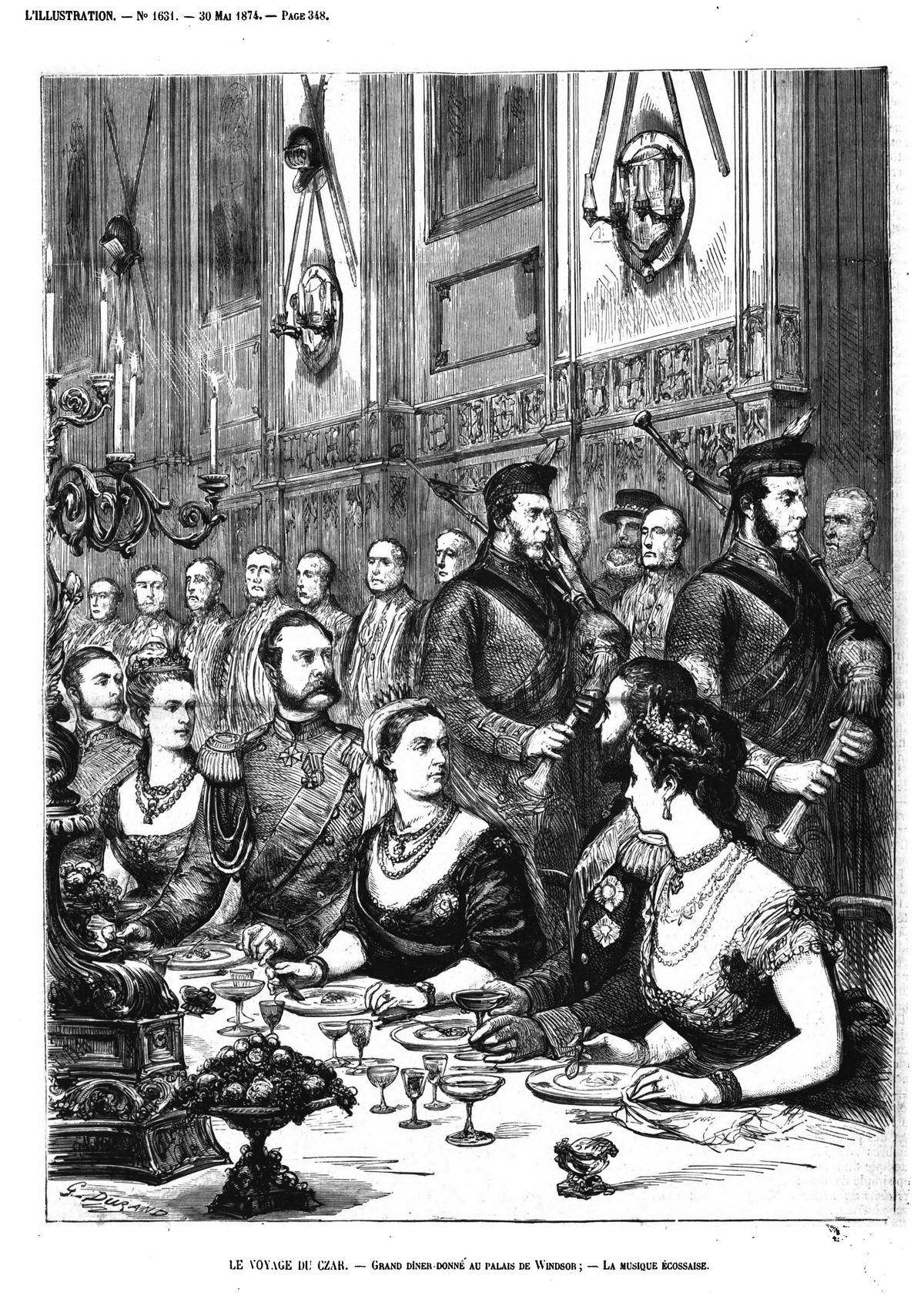 Le Voyage du czar : grand dinner donné au palais de Windsor; la musique écossaise. (gravure 1874)
