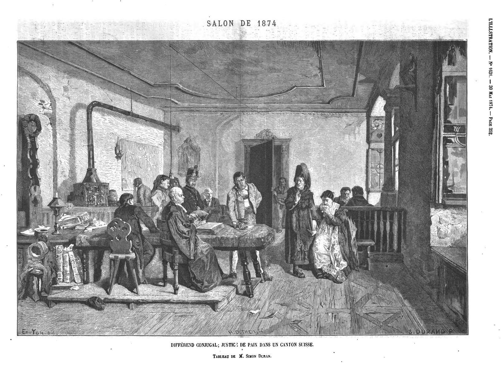 Salon de 1871 : diférend conjugal: justice de paie dans un canton suisse, tableau de M. Simon jturan; (gravure 1874)
