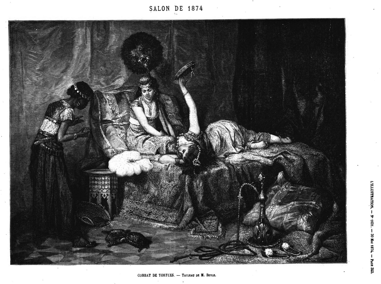 Combat de tortues, tableau de M. lieyle, (gravure 1874)