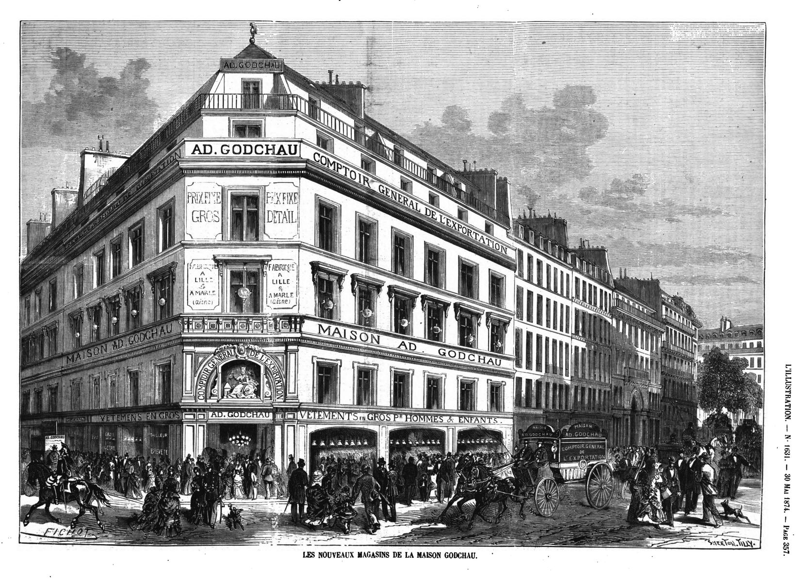 Les nouveaux Magasins de la maison Godchau. (gravure 1874)