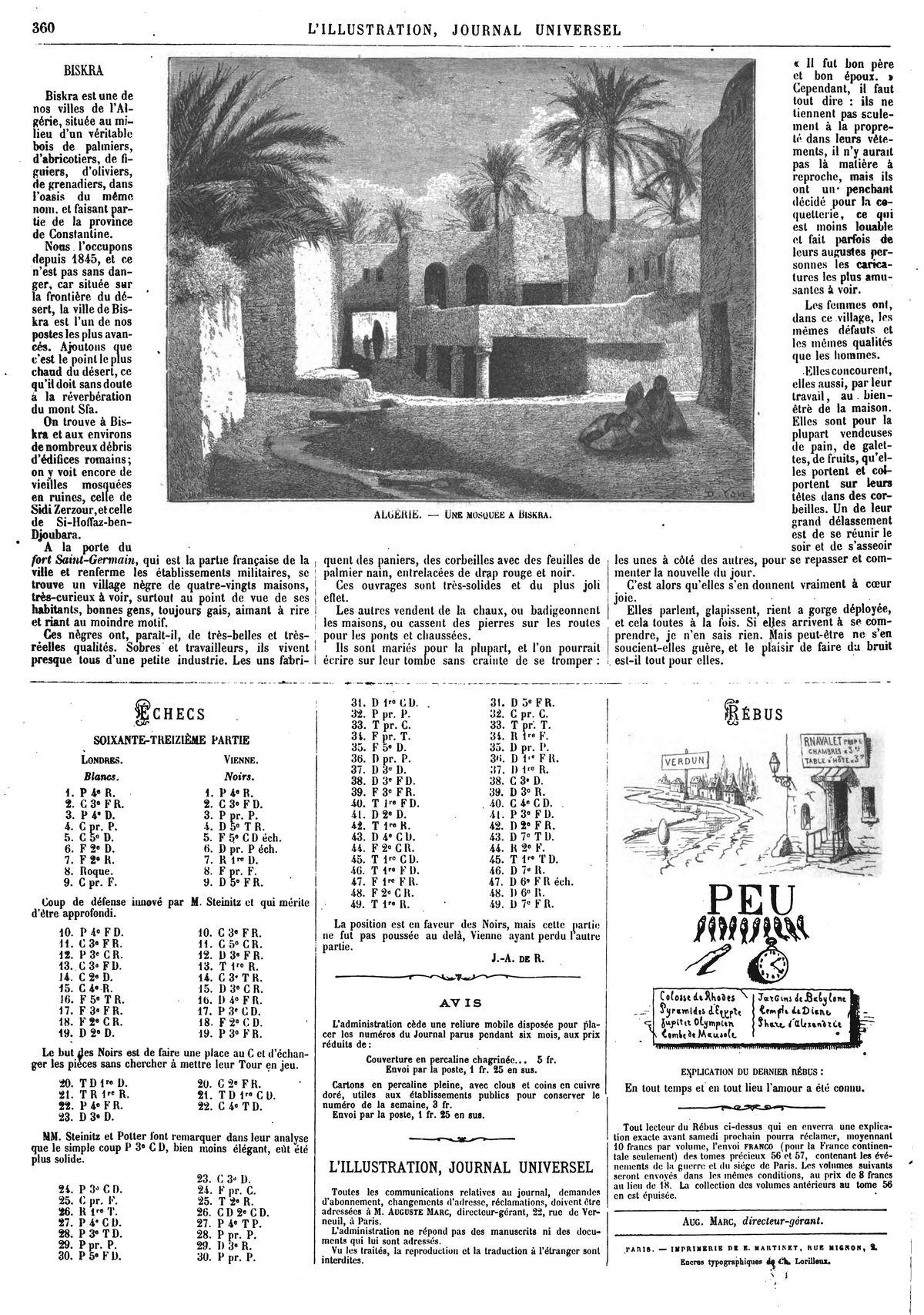 Algérie : une mosquée à Biskra. (gravure 1874)