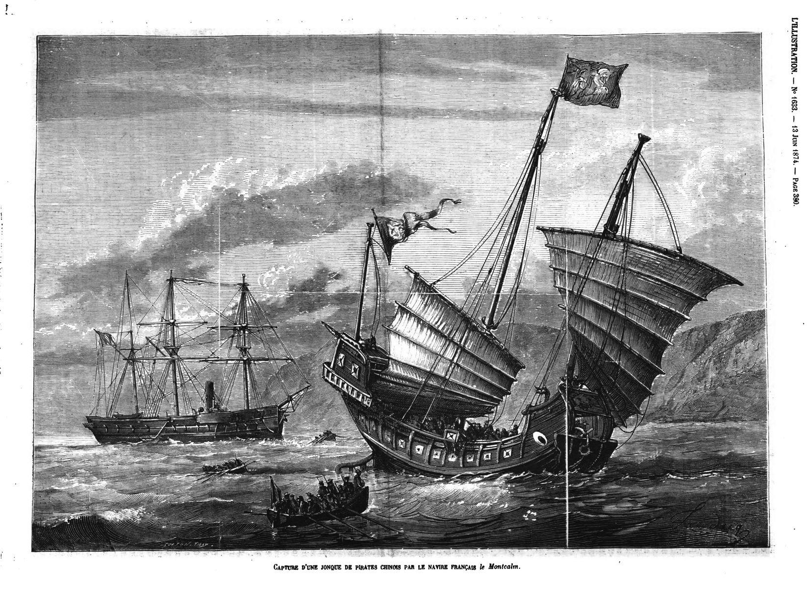 Capture d'une jonque de pirates chinois par le navire français le Montcalm;