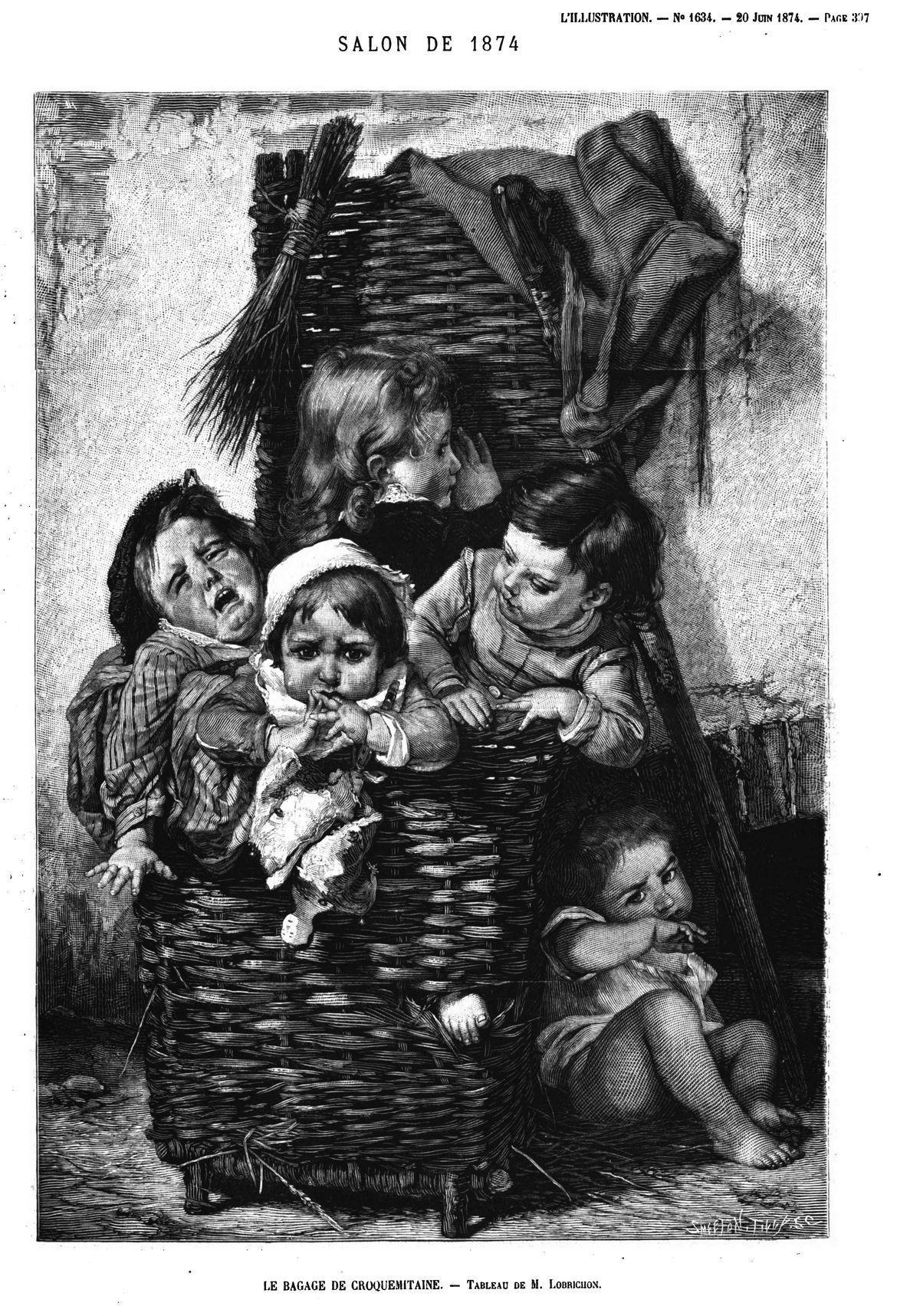 Salon de 1871 : Le bagage de Croquemitaine, tableau de M. Lobrichon;