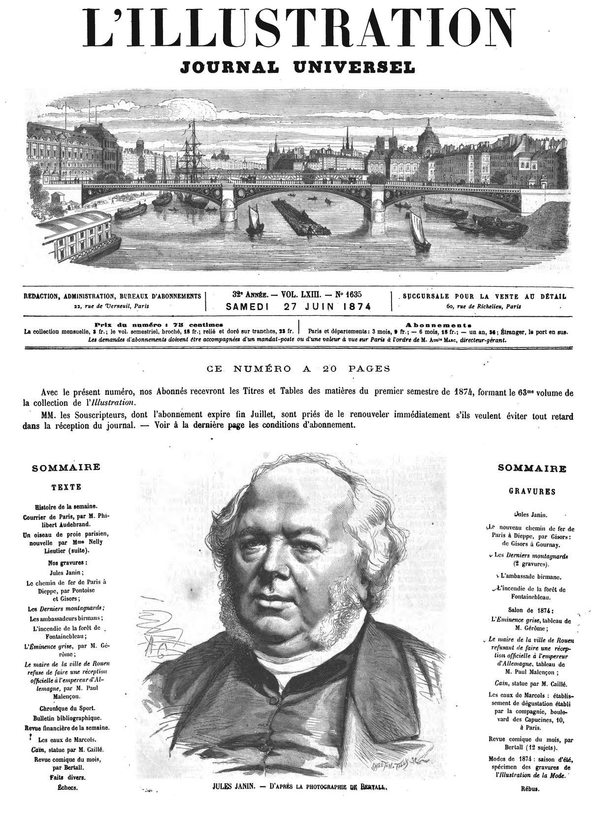 Jules Janin. (gravure 1874)