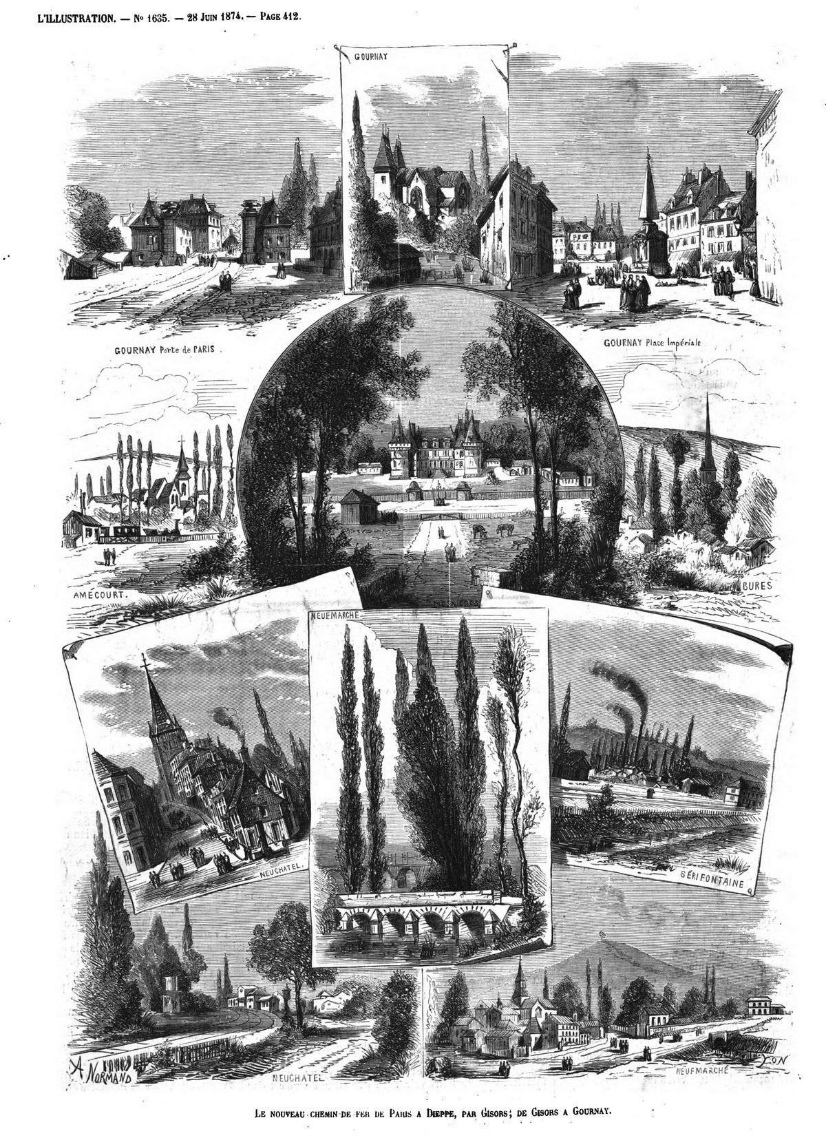 Le nouveau chemin de fer de Paris à Dieppe, par Gisors: de Gisors à Gournay. (gravure 1874)