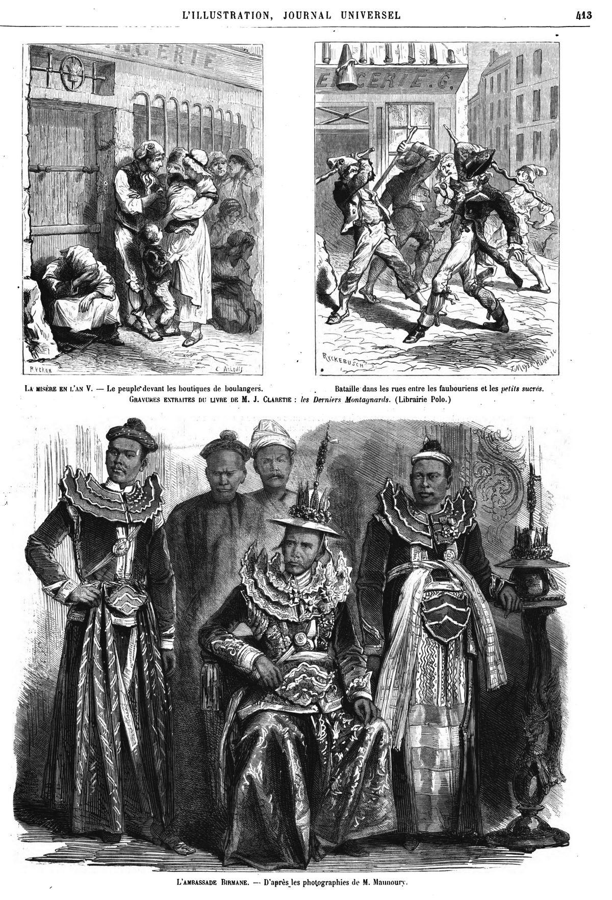 L'ambassade birmane. (gravure 1874)