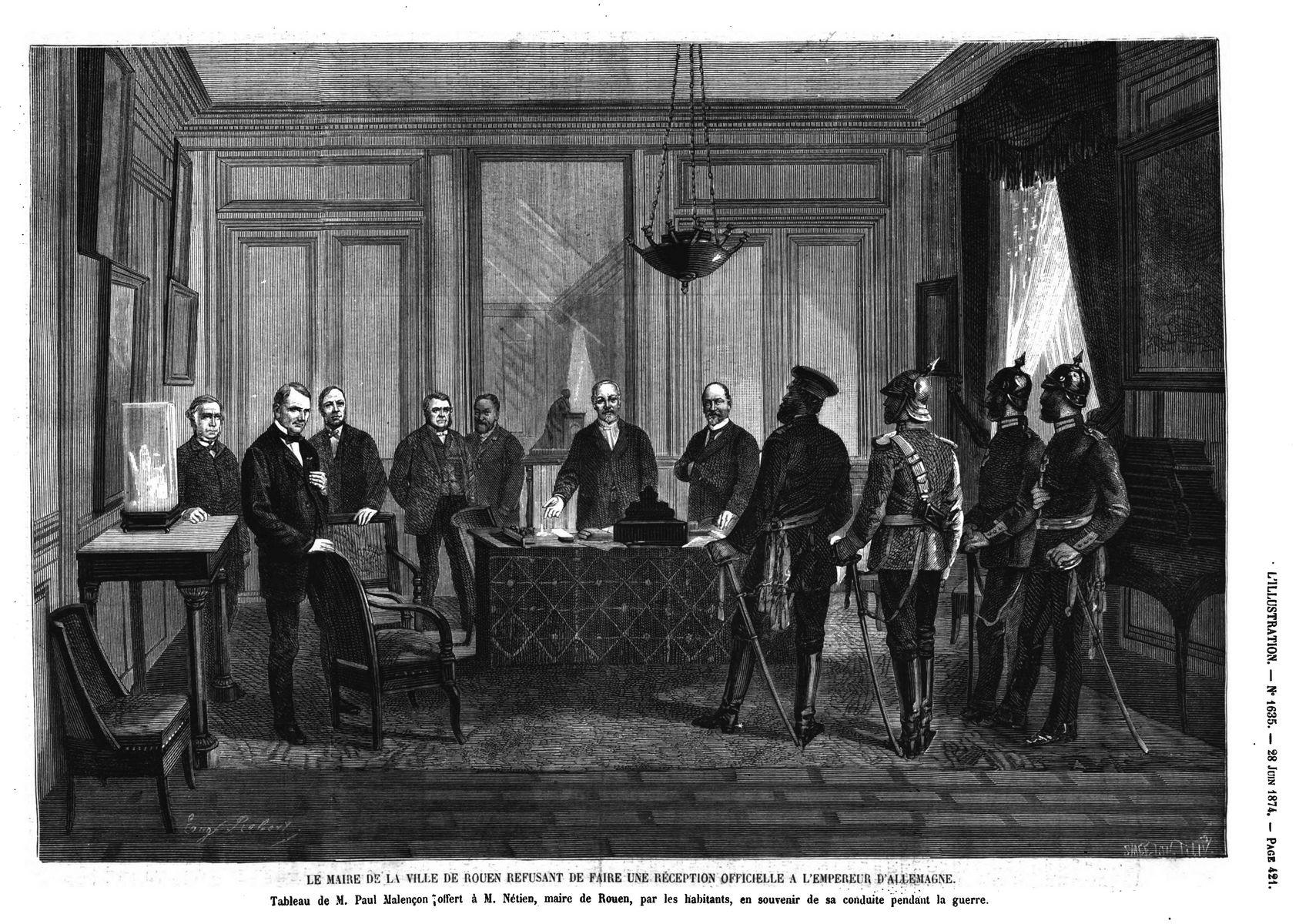 Salon de 1874 :L'Eminence grise, tableau de M. Gérôme ;Le maire de la ville de Rouen refusant de faire une réception officielle à l'empereur d'Allemagne, tableau de M. Paul Malençon
