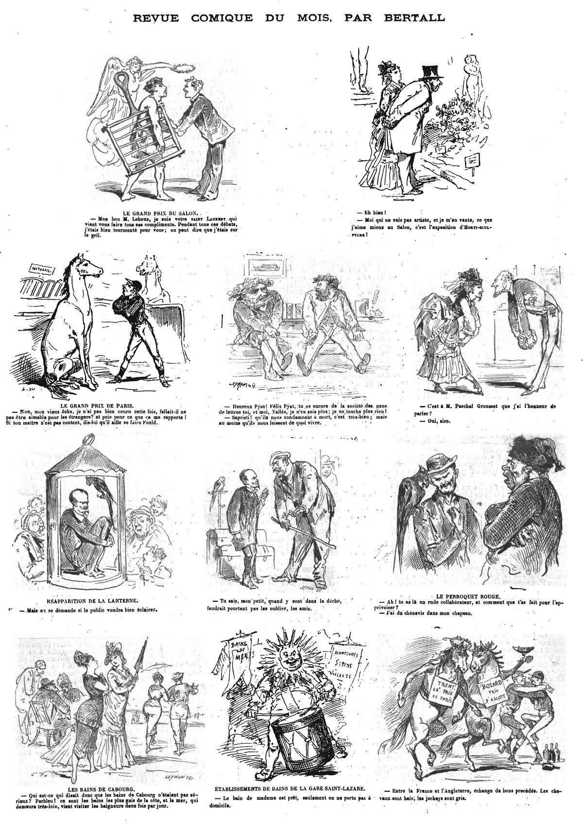 Revue comique du mois, par Bertall (12 sujets). (gravure 1874)