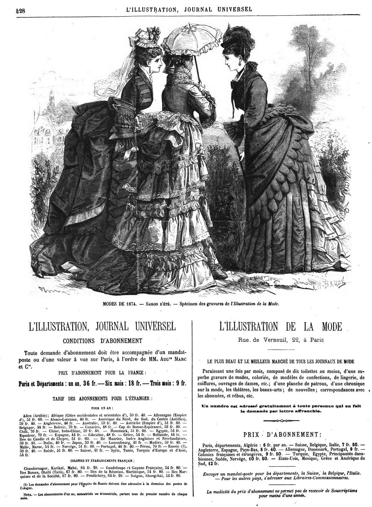 Modes de 1874 : saison d'été, spécimen des gravures de l'Illustration de la Mode. (gravure 1874)