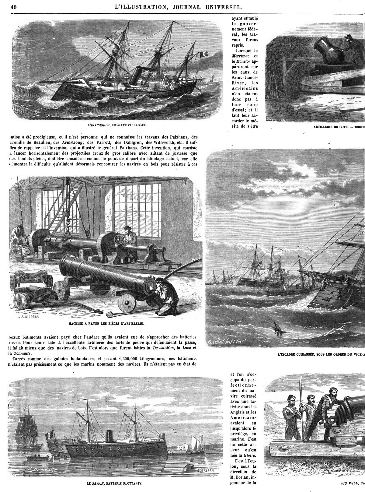 Les navires cuirassés et les nouveaux canons,en France et en Angleterre