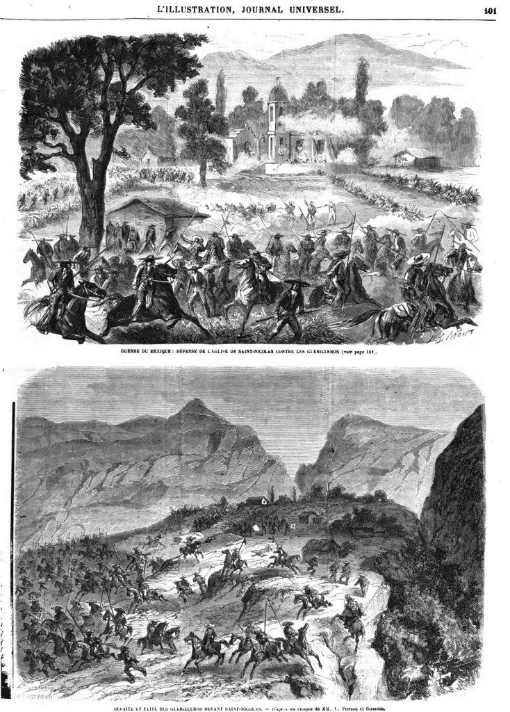 Guerre du Mexique : Défense de l'église et du cimetière de Saint-Nicolas contre les guerilleros; défaite des guerilleros devant Saint-Nicolas.