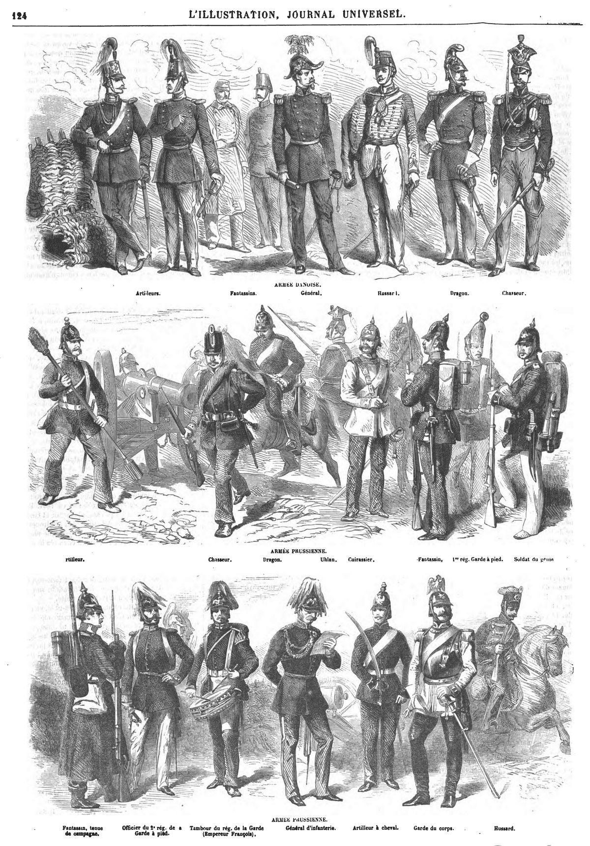Costumes des armées danoise et prussienne (3 gravures). La guerre des Duchés, seconde guerre prusso-danoise,seconde guerre de Schleswig-Deutsch-Dänischer Krieg