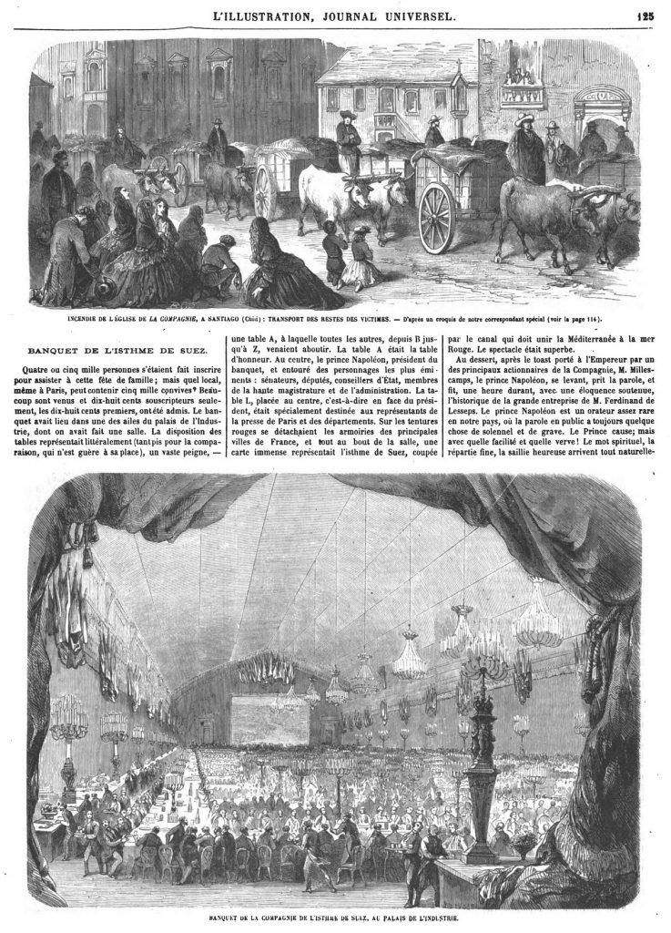 Incendie de l'église de la Compagnie, à Santiago (Chili): transport dus restes des victimes. —Banquet de la compagnie de l'Isthme de Suez, au Palais de l'Industrie.
