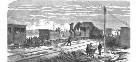 trains et chemins de fer du 19ème siècle. Estampes, images, gravures anciennes, dessin de presse.