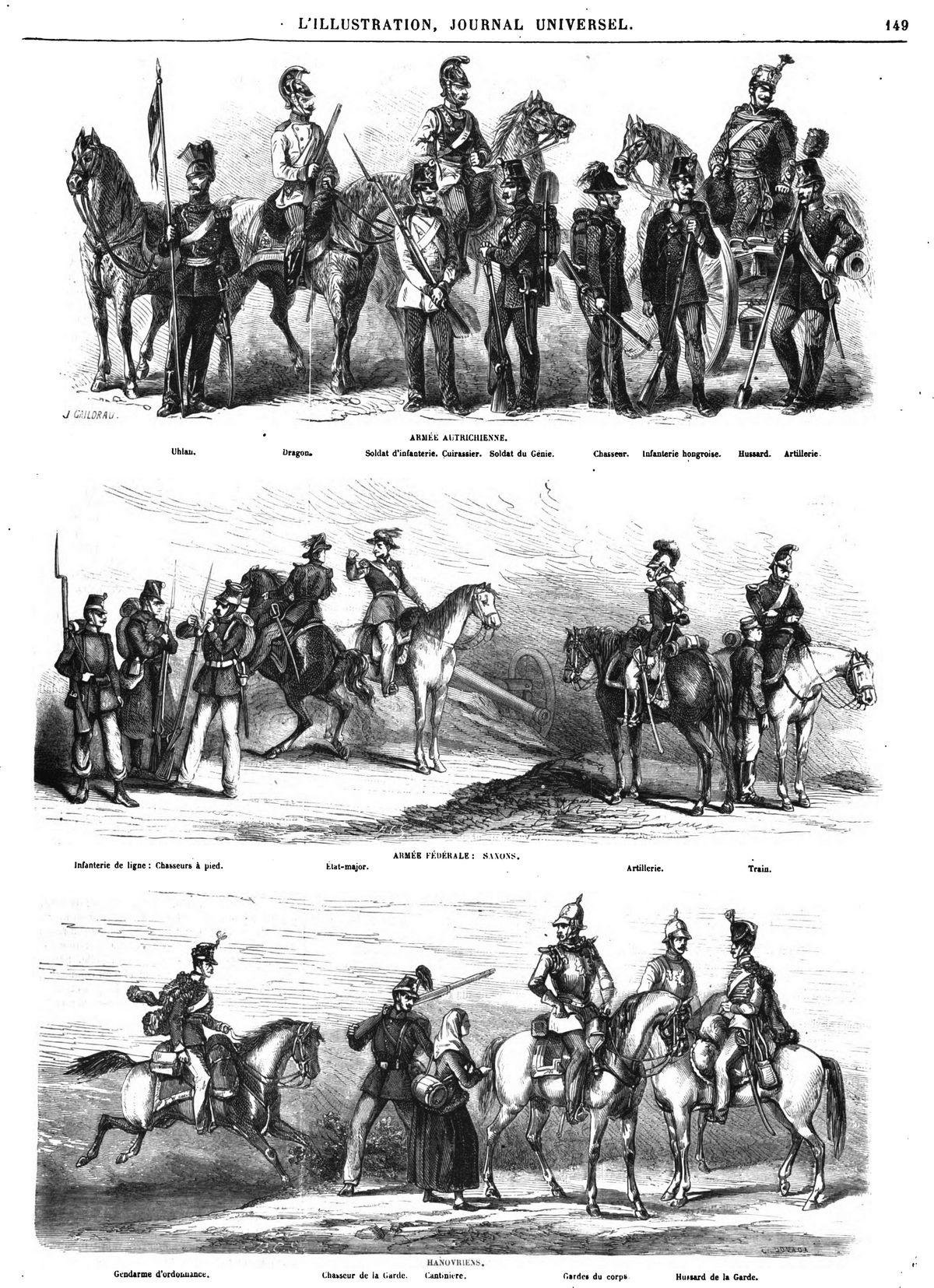 Costumes des armées autrichienne, saxonne et hanovrienne (3 gravures). La guerre des Duchés-guerre prusso-danoise-seconde guerre de Schleswig-Deutsch-Dänischer Krieg-Guerra de los Ducados-Second Schleswig War-Février 1864 à octobre 1864