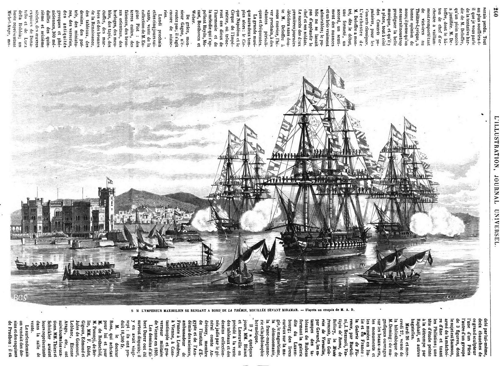 S. M. l'Emperenr Maximilien se rendant à bord de la Thémis, mouillée devant Miramar. (La Thémis est une frégate de 50 canons)