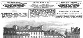 L'illustration journal universel n° 1106.  7 mai 1864. Visite de LL. MM. l'Empereur et l'Impératrice du Mexique à S. S. le pape : arrivée dans la cour du Vatican.