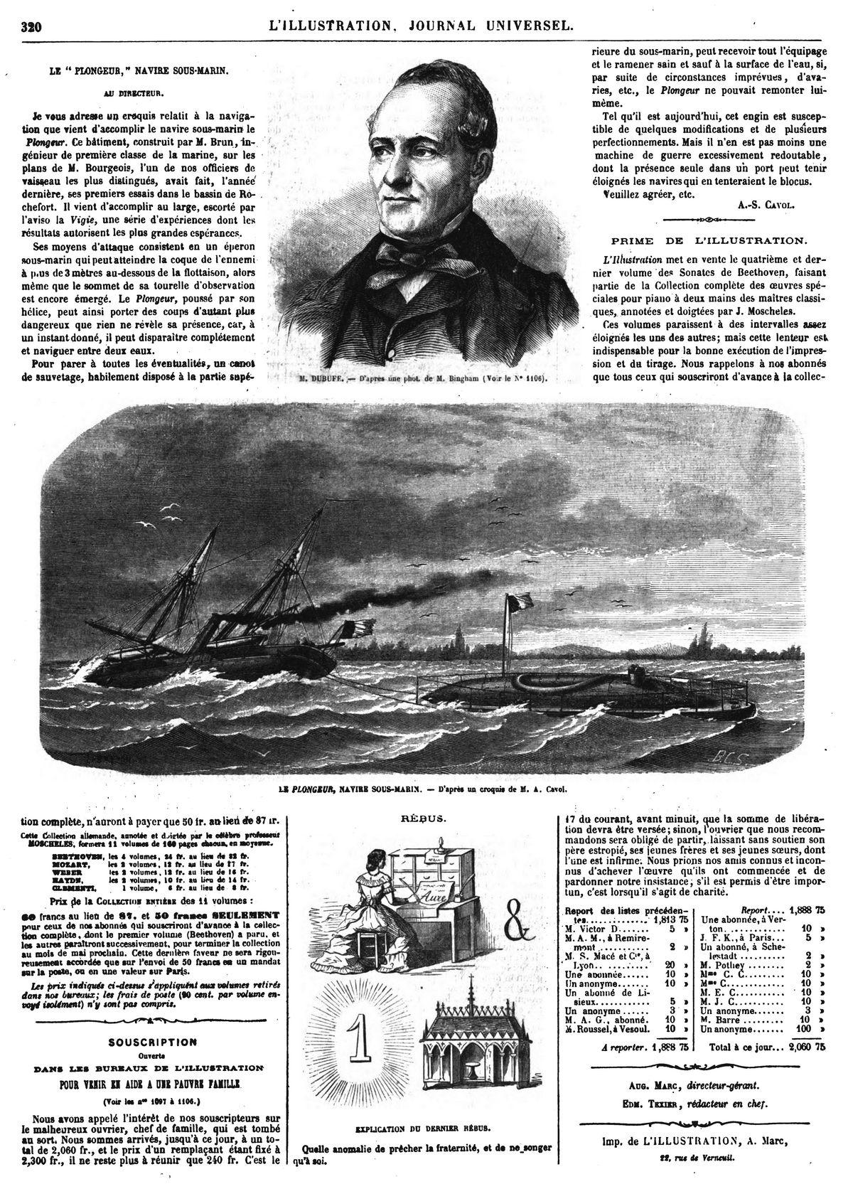 M. Dubufe. Le Plongeur, navire sous-marin