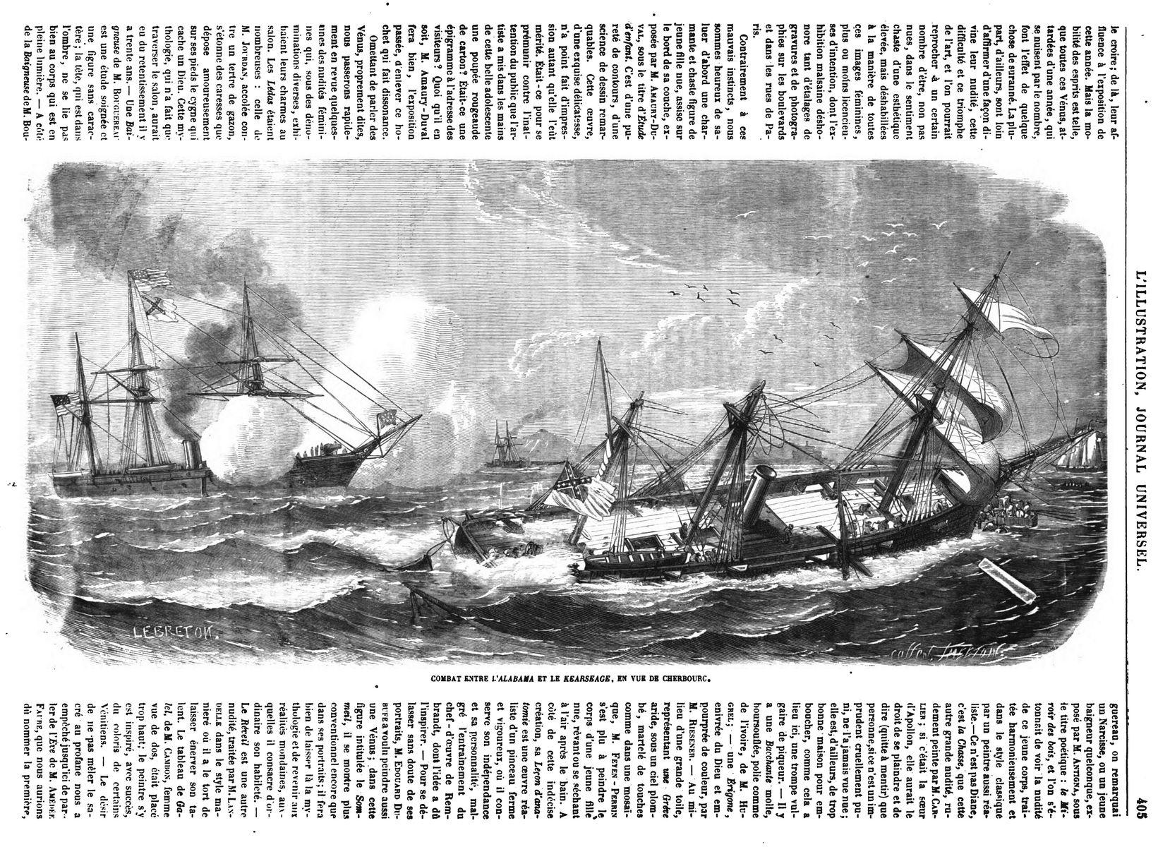 Combat entre l'Alabama et le Kearsarge, en vue de Cherbourg. 1864