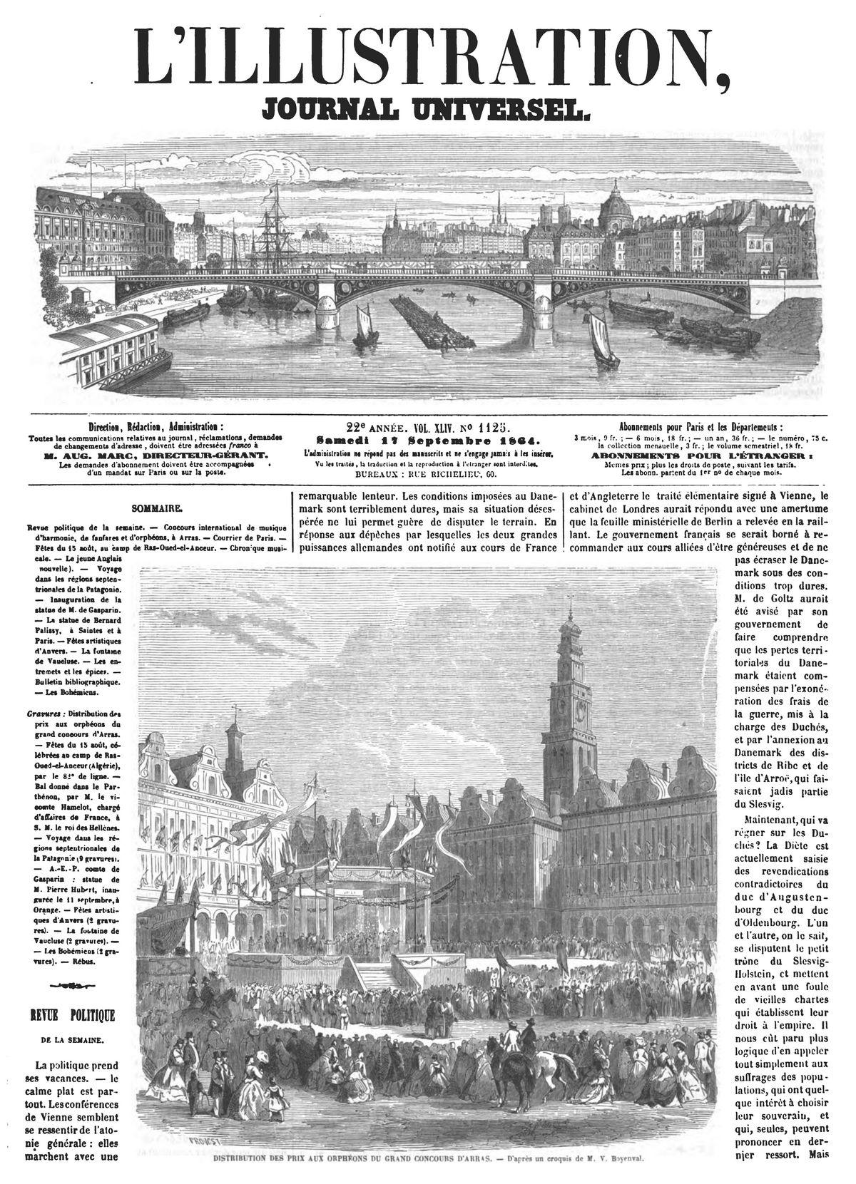 Distribution des prix aux orphéons du grand concours d'Arras.