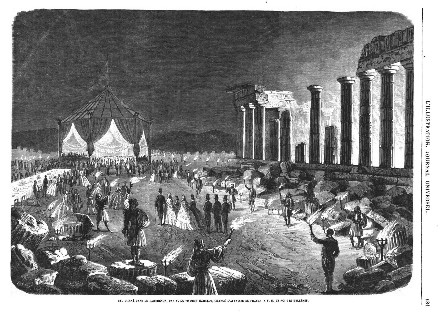 Bal donné dans le Parthénon, par M. le vicomte Hamelot, chargé d'affaires de France, à S. M. le roi des Hellènes