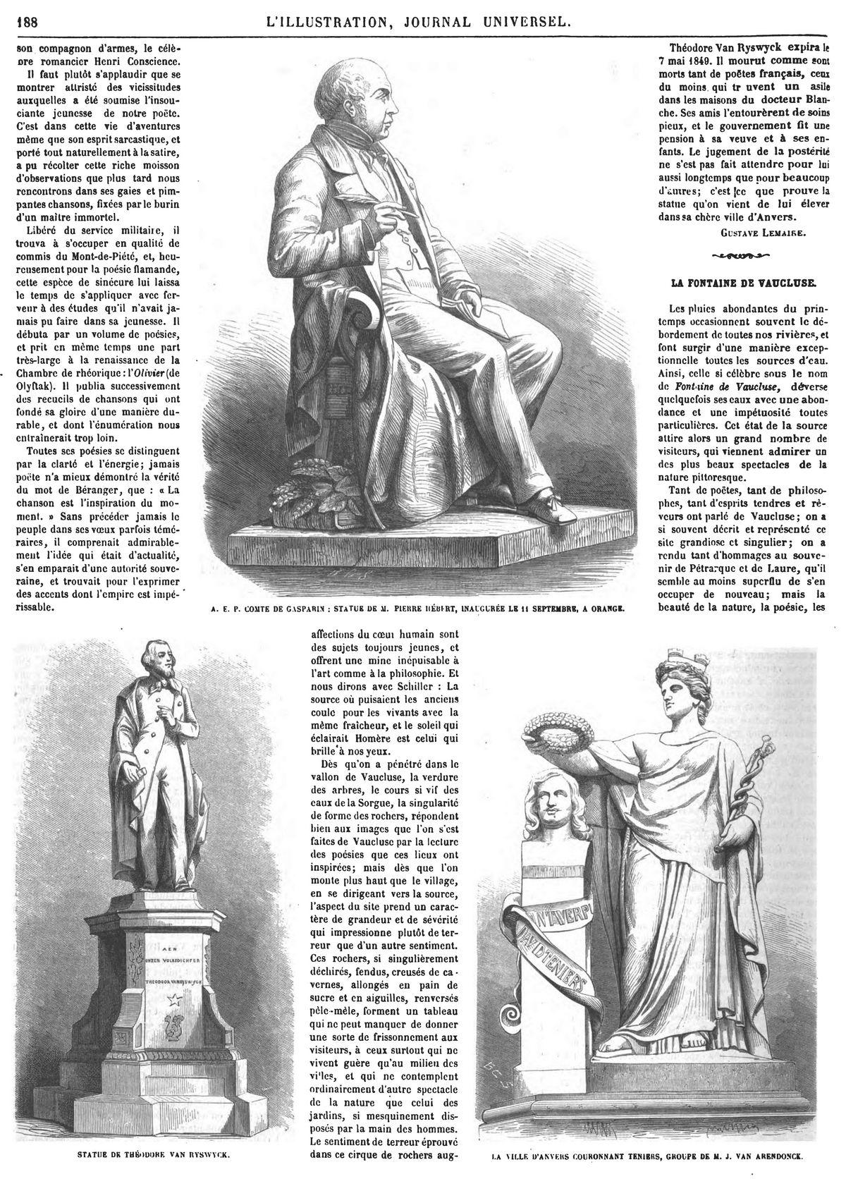 A.-E.-P. comte de Gasparin ; statue de M. Pierre Hubert, inaugurée le 11 septembre, à Orange.