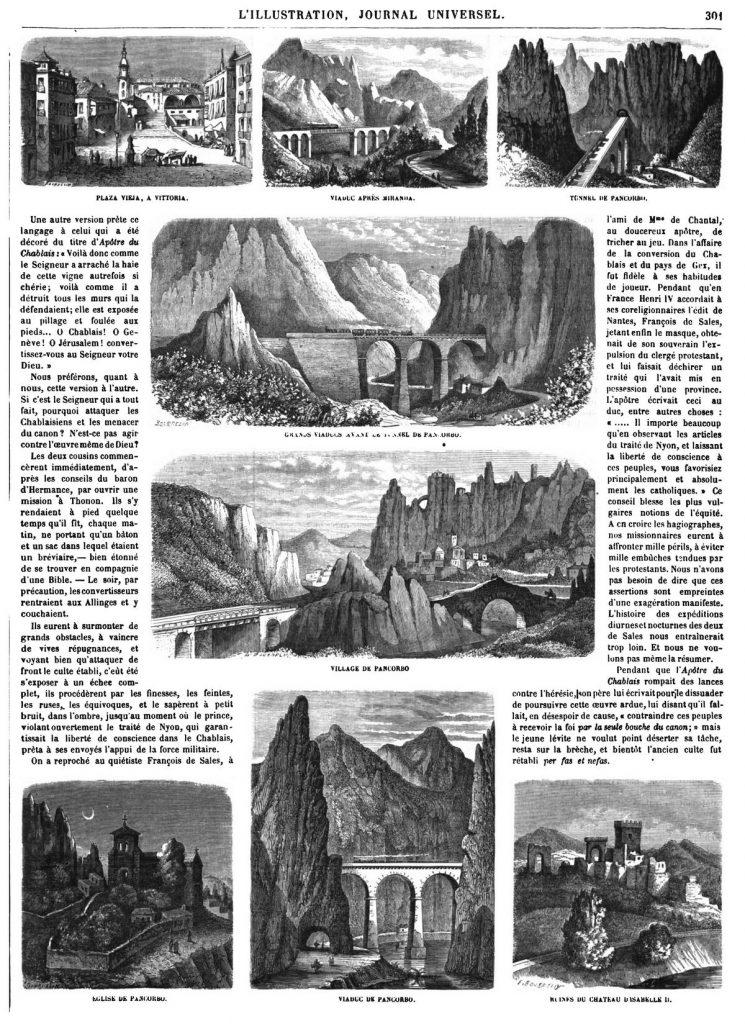 Le chemin de fer dans les Pyrénées (8 gravures). 1864