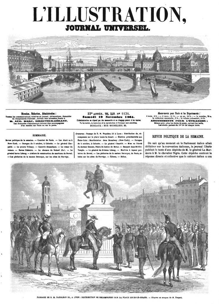 Passage de S. M. Napoléon III à Lyon : Distribution de récompenses sur la place Louis-le-Grand.