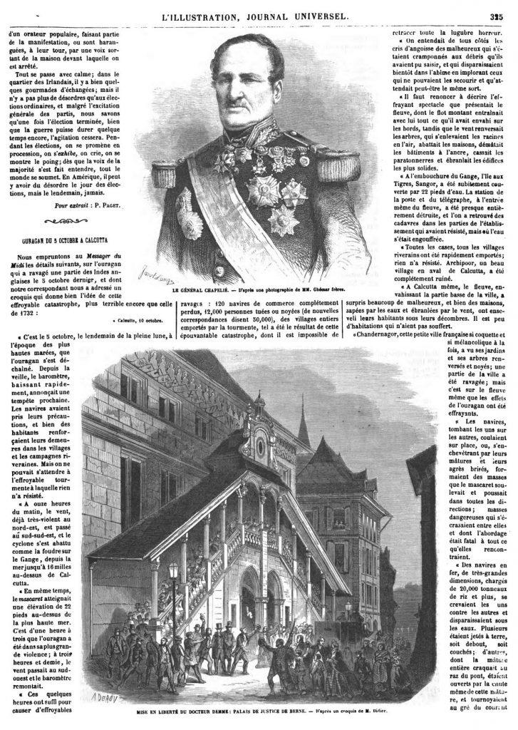 Le général Chapelié. — Mise en liberté du docteur Demme, Palais de Justice de Berne.