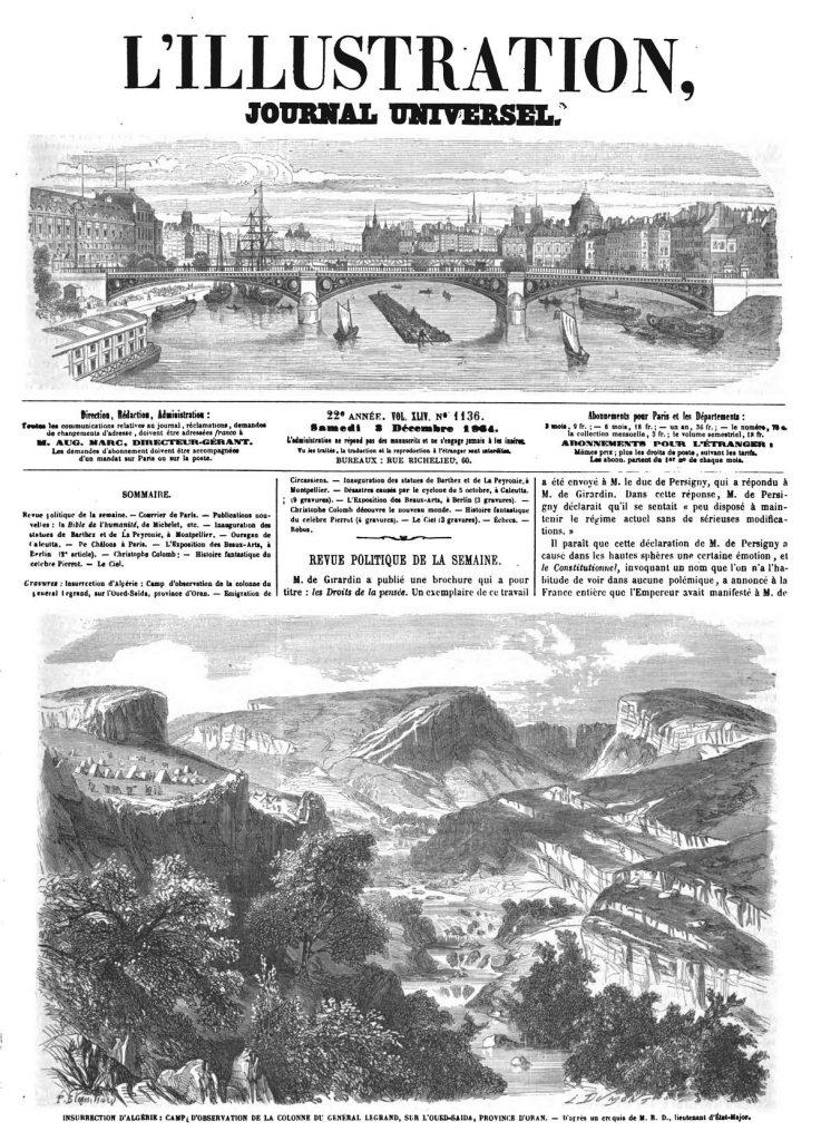 Insurrection d'Alpérie : Camp d'observation de la colonne du fédéral Legrand, sur l'Oued-Saïda, province d'Oran.