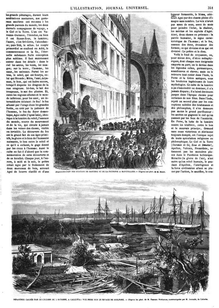 Inauguration des statues de Barthez et de La Peyronie, à Montpellier. — Désastres causés par le cyclone du 5 octobre, à Calcutta. (9 gravures).