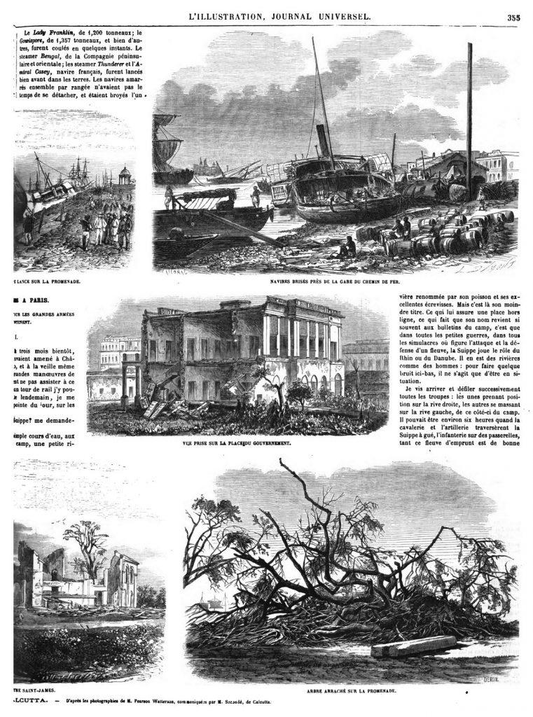 Désastres causés par le cyclone du 5 octobre, à Calcutta. (9 gravures).