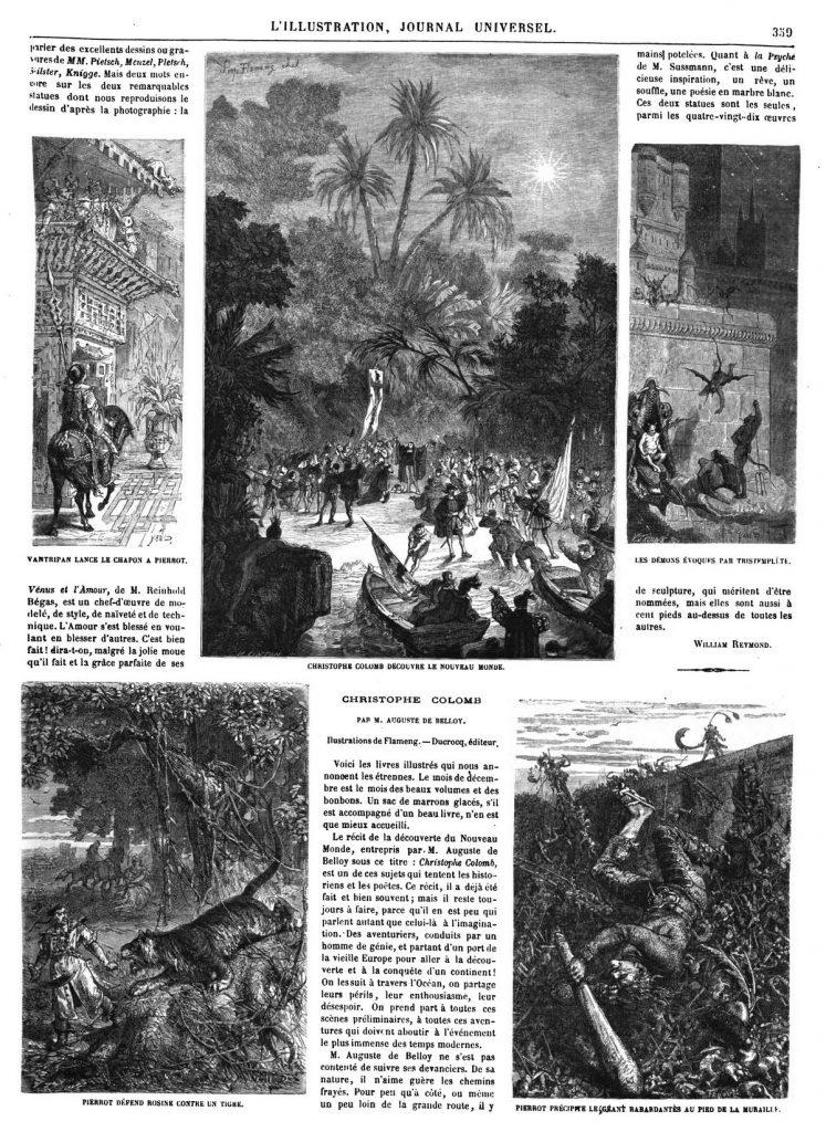 Christophe Colomb découvre le nouveau monde. — Histoire fantastique du célèbre Pierrot (4 gravures).