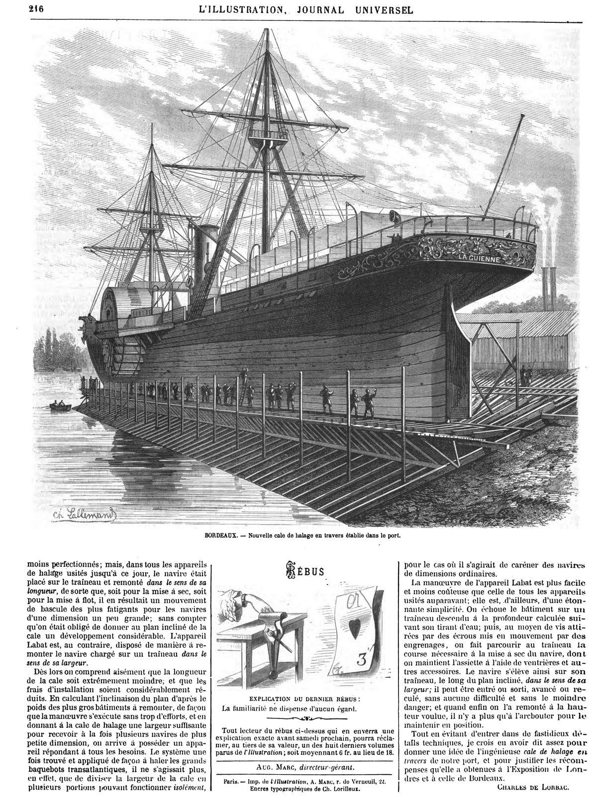 Nouvelle cale de halage en travers établie dans le port de Bordeaux. Gravures 1870