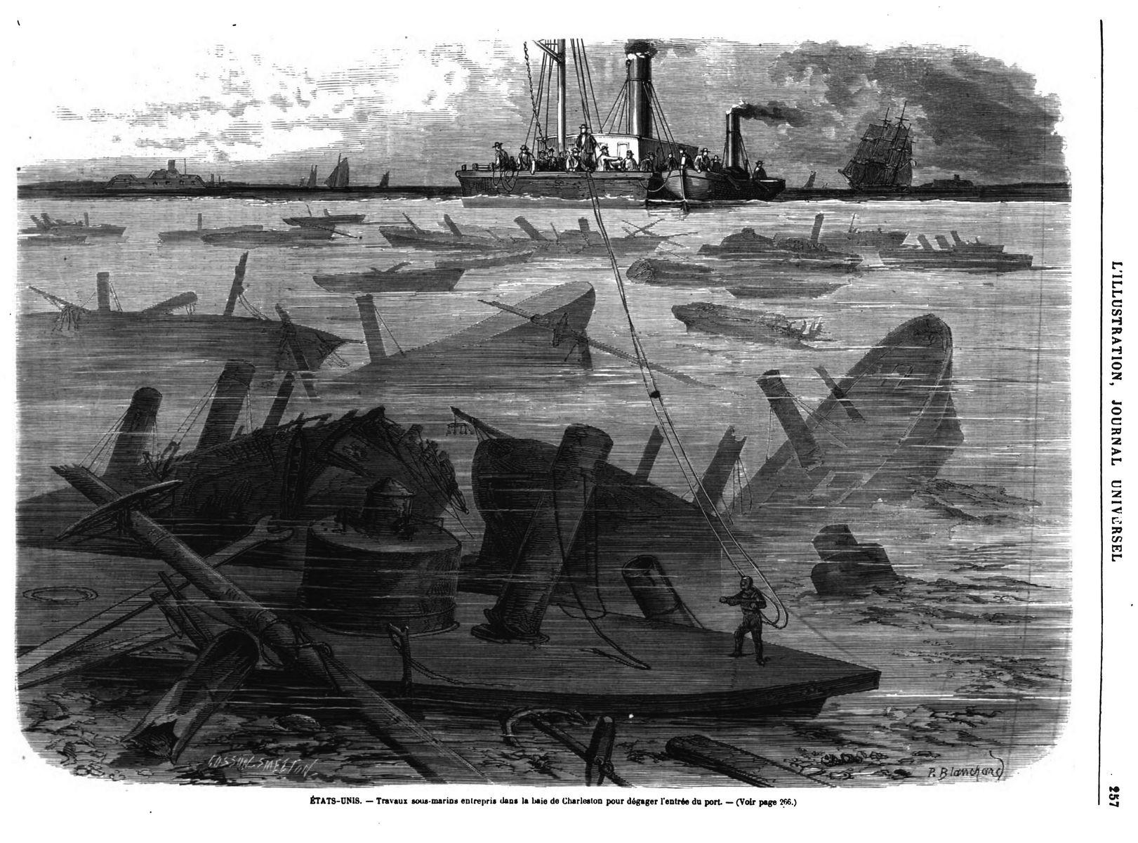 Travaux sous-marins entrepris dans la baie de Charleston jour dégager l'entrée du port. gravure du 19ème, 1870