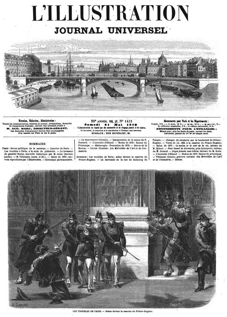 Les troubles de Paris: scène devant la caserne du Prince-Eugène. Illustration, gravure 1870