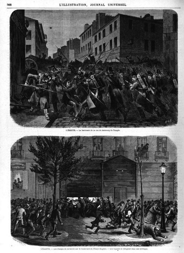 — La barricade de la rue du faubourg du Temple; Illustration, gravure 1870 — Charges de cavalerie sur le boulevard du Prince-Eugène. Illustration, gravure 1870