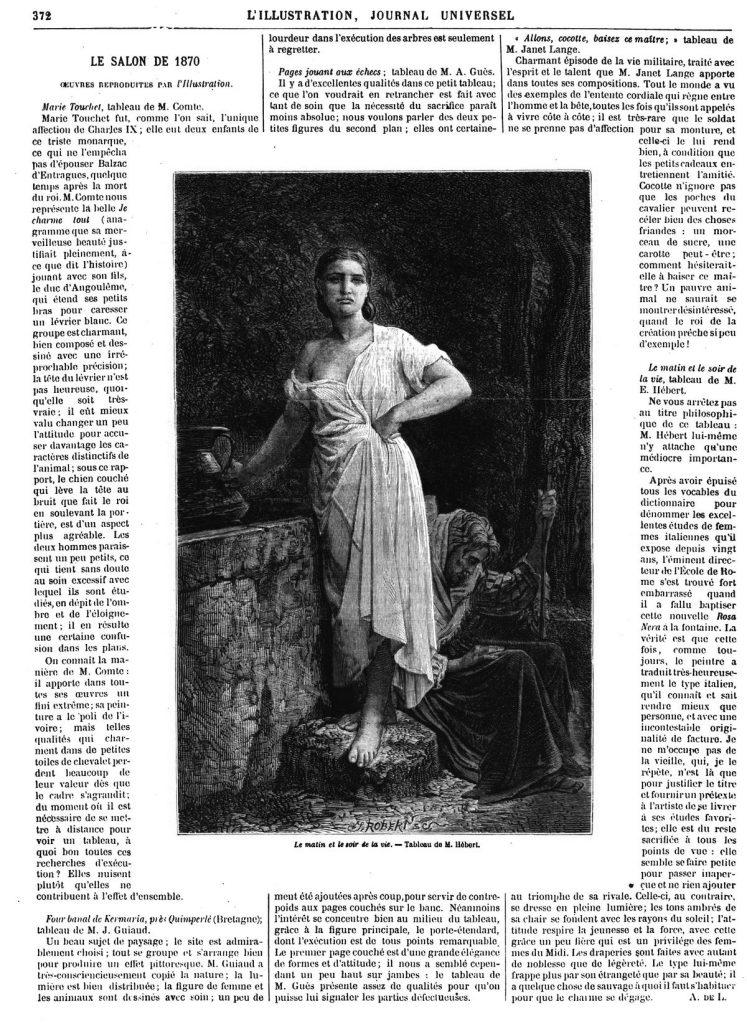 —Salon de 1870 : Le matin et le soir de la vie, tableau de M. Hébert. Illustration, gravure 1870